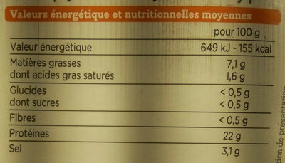 Truite Fumée Bio - Informations nutritionnelles - fr