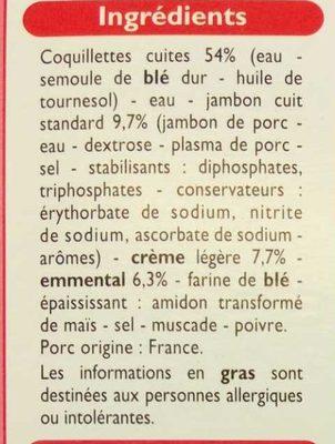 Coquillettes jambon emmental - Ingrédients