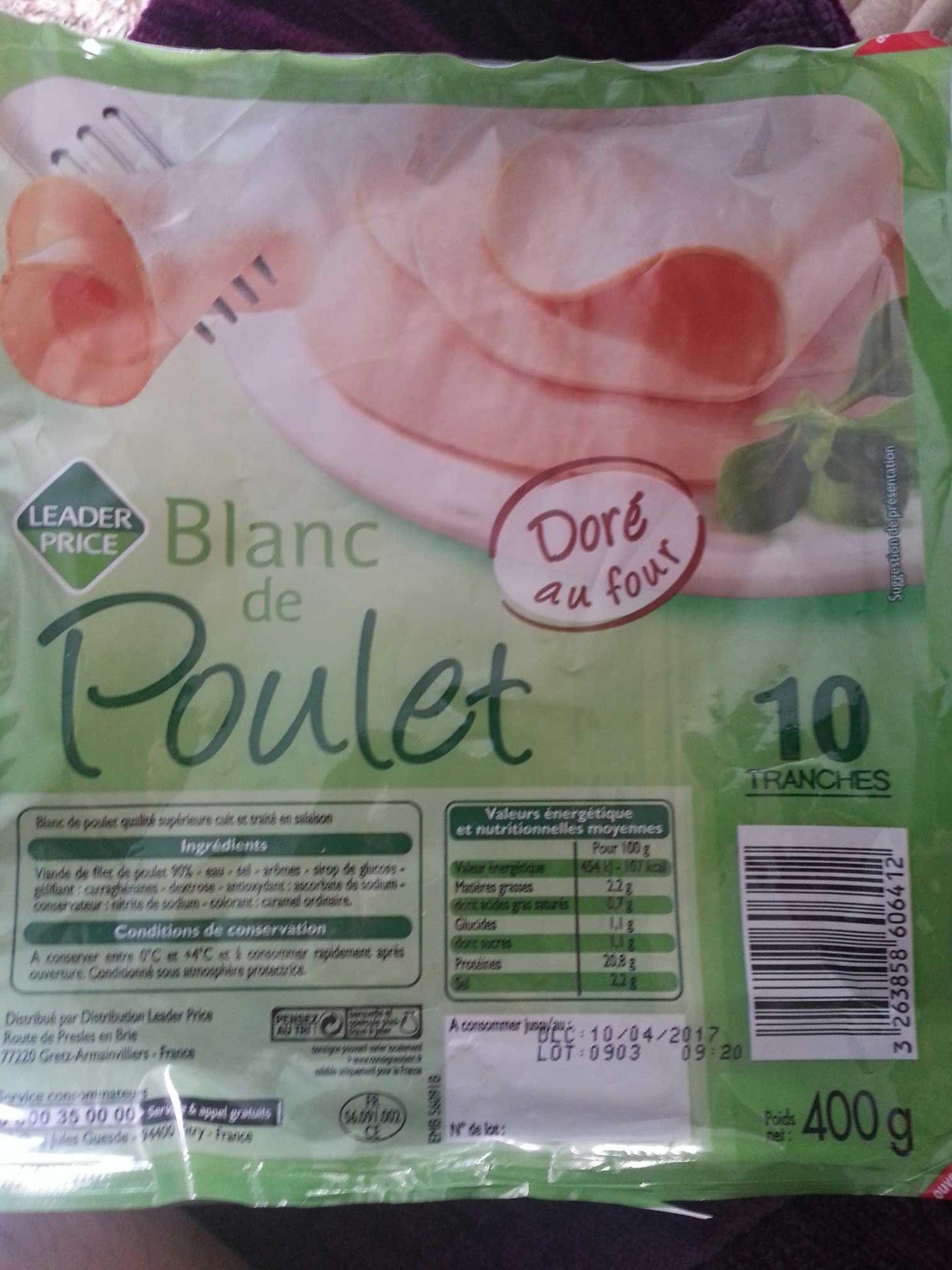 Blanc de poulet - Leader Price - 400 g