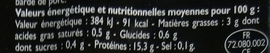 Brochettes de Bœuf - Informations nutritionnelles