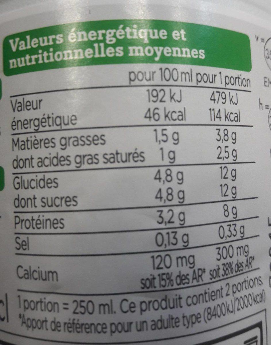 Lait demi écrémé UHT - Nutrition facts - fr