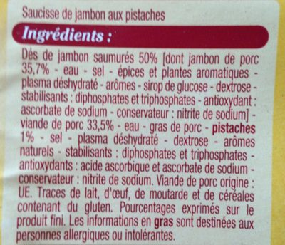 Saucisse de jambon - Ingrédients - fr