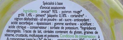Guacamole avec morceaux d'avocats - Ingrediënten
