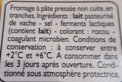 Cheddar en tranches - Ingrédients - fr