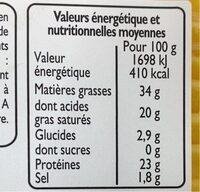 Cheddar en tranches - Informations nutritionnelles - fr