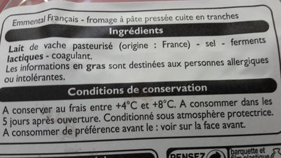 Emmental francais - Ingredienti - fr