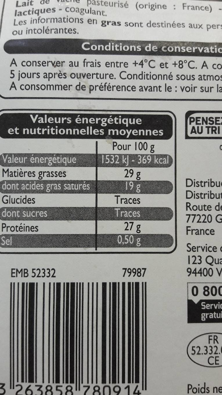 Emmental francais - Valori nutrizionali - fr