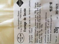 Fromage de Savoie - Ingredients - fr