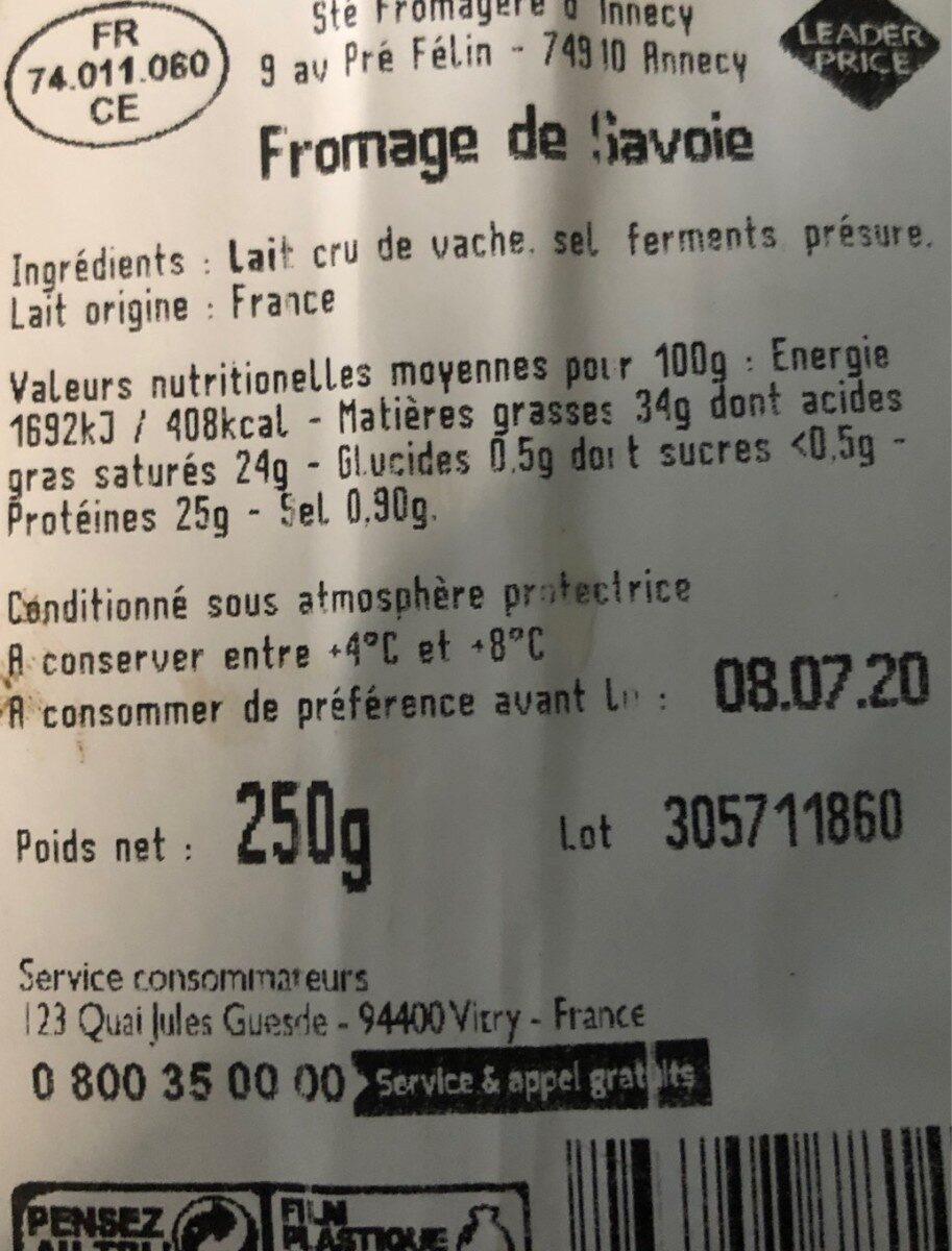 Fromage de Savoie - Nutrition facts - fr