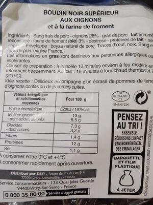 L'offre du Boucher Boudin noir - Ingrédients - fr
