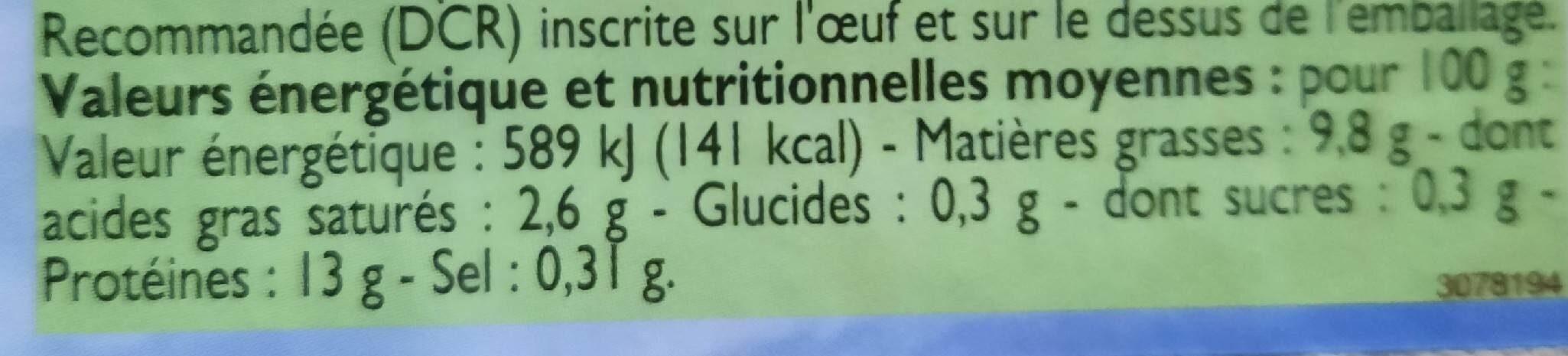 Œufs de poule plein air - Valori nutrizionali - fr