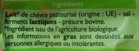 Bûche de chèvre bio - Ingredients - fr