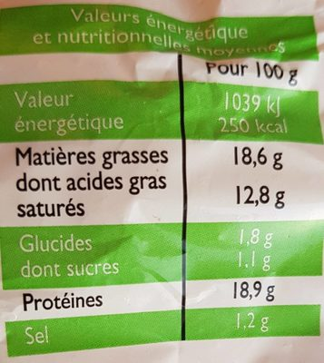Bûche de chèvre bio - Nutrition facts - fr