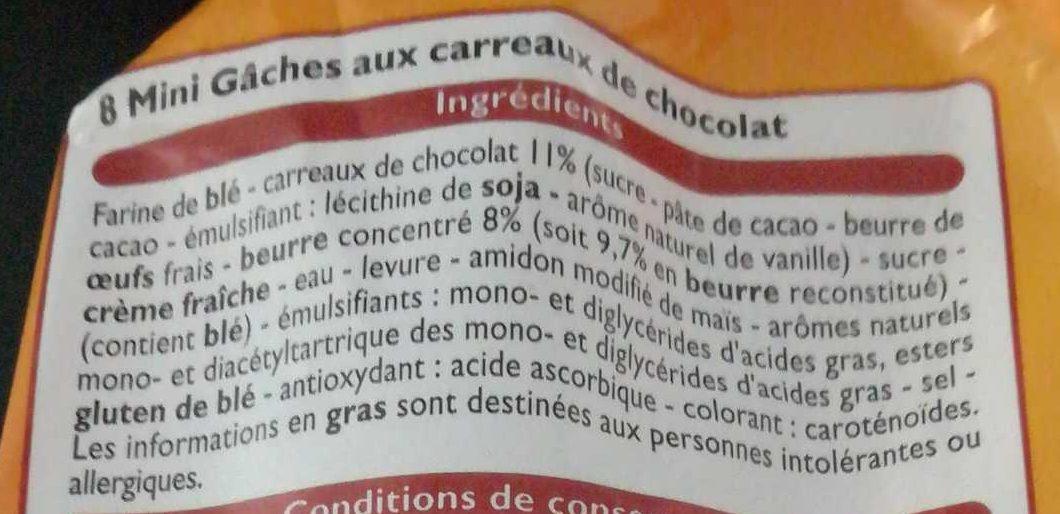 Mini Gâches aux Carreaux de Chocolat - Ingrédients - fr