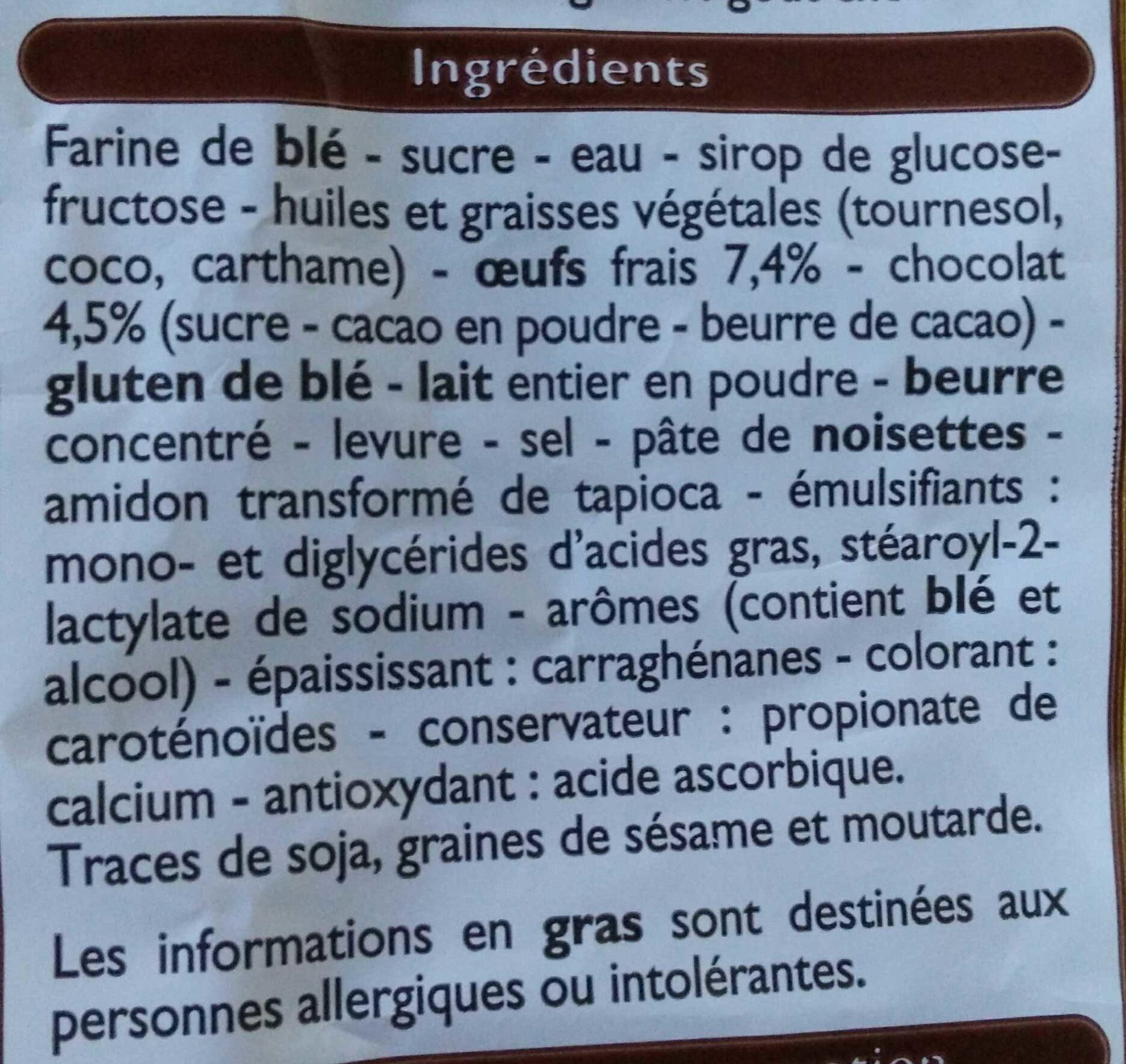 8 petites brioches fourrage goût chocolat - Ingrédients - fr