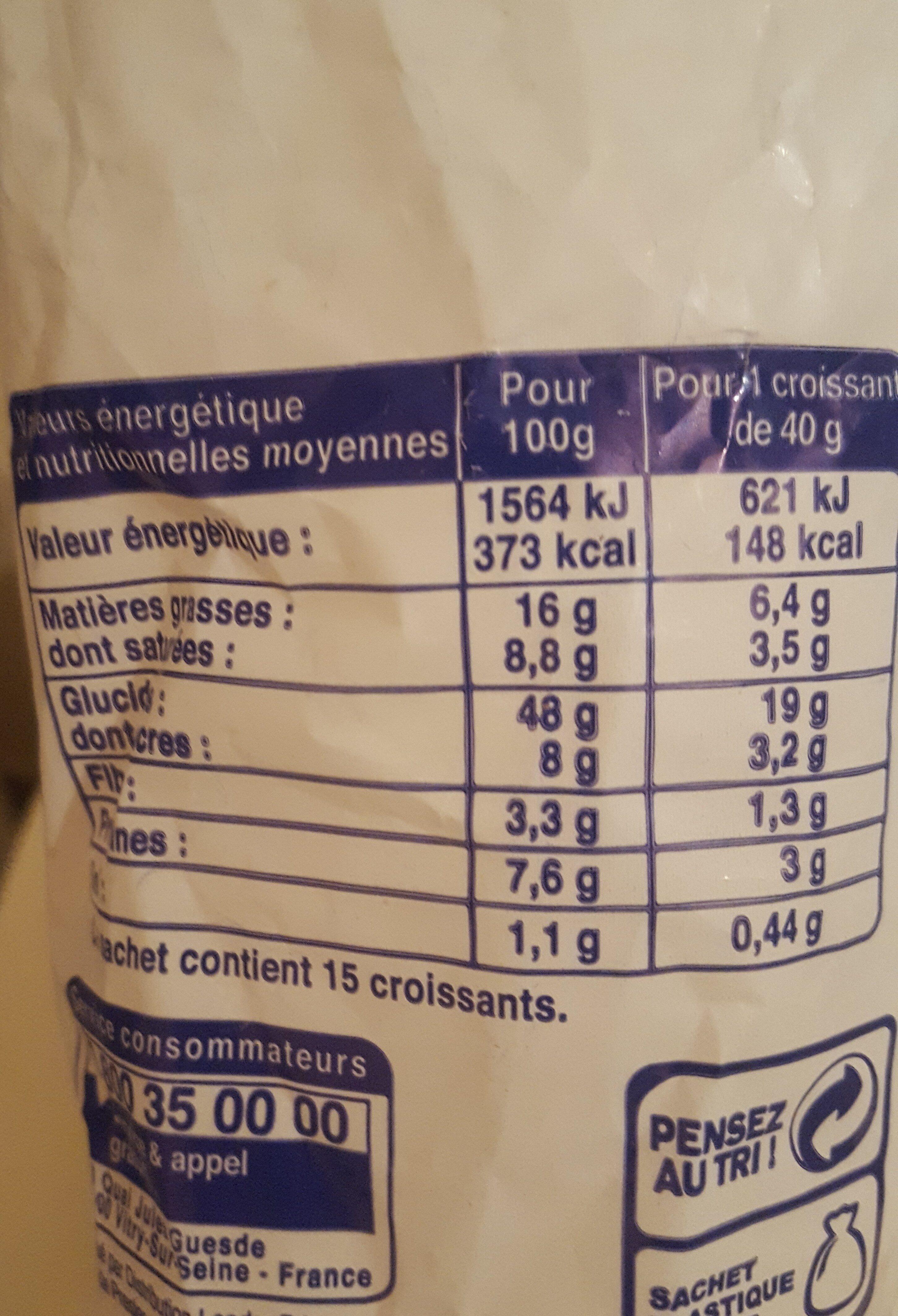 Croissant - Informations nutritionnelles - fr