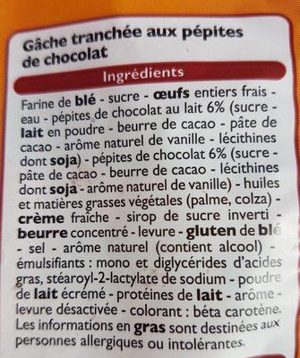 Gâche tranchée aux pépites de chocolat - Ingredienti - fr