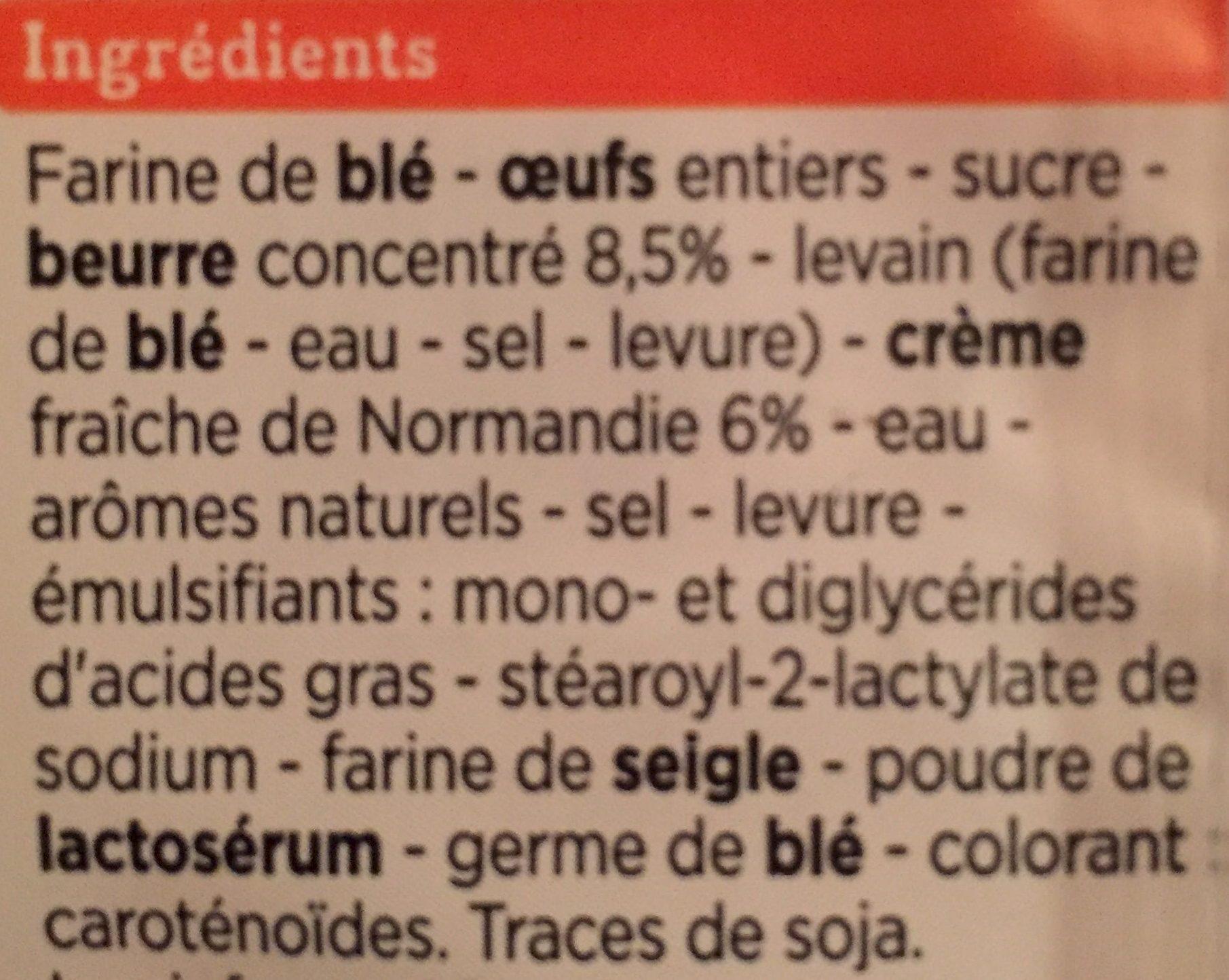 Brioche Tressée Pur Beurre et à la Crème Fraîche de Normandie - Ingrédients - fr