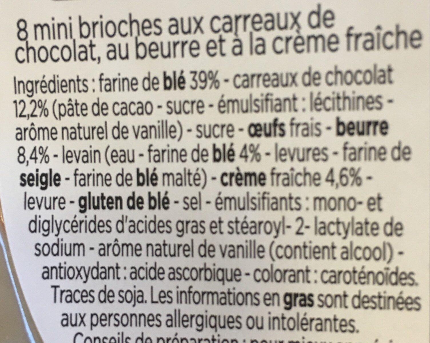 Mini gâches aux carreaux de chocolat - Ingredienti - fr
