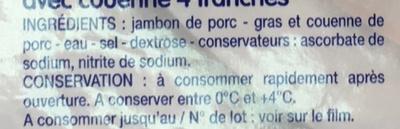 Jambon cuit supérieur avec couenne - Ingrédients - fr
