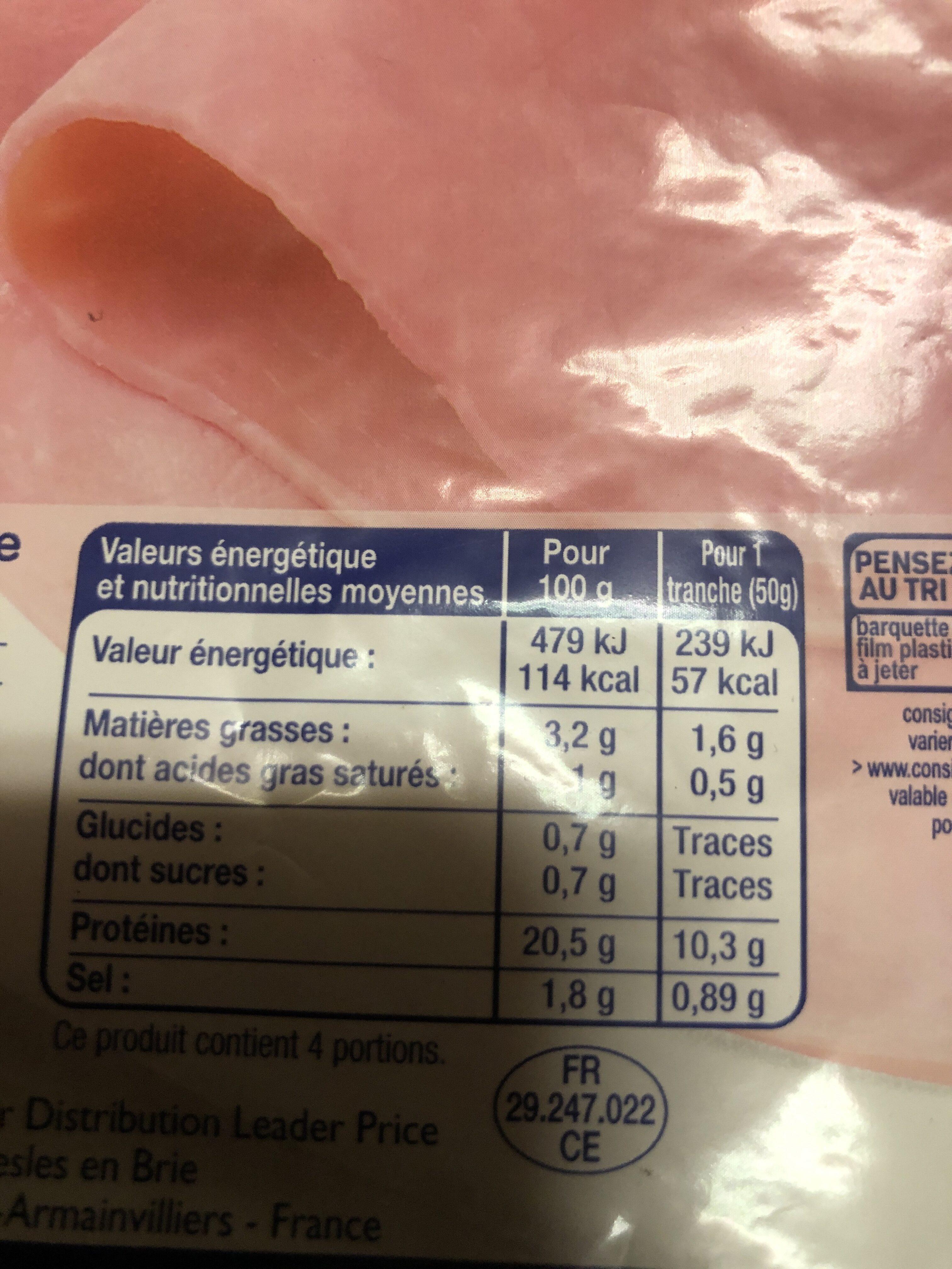 Jambon cuit supérieur découenné dégraissé - Informations nutritionnelles - fr