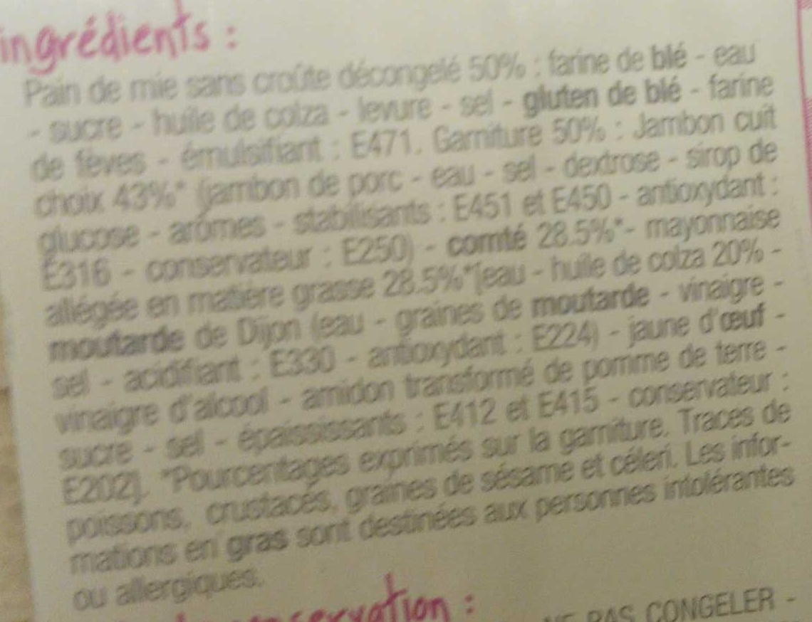 Jambon-Comté - Ingrédients - fr