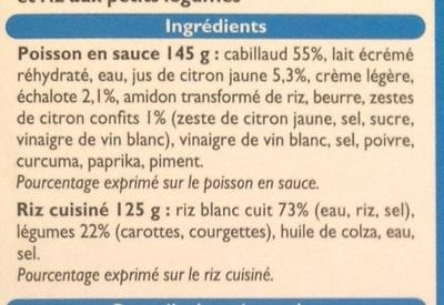 Cabillaud sauce citron et son riz aux petits légumes - Ingredients