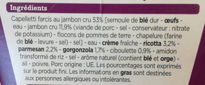 Capelletti jambon sauce trois fromages - Ingrédients