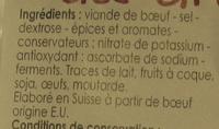 Viande des Grisons - Ingredients - fr
