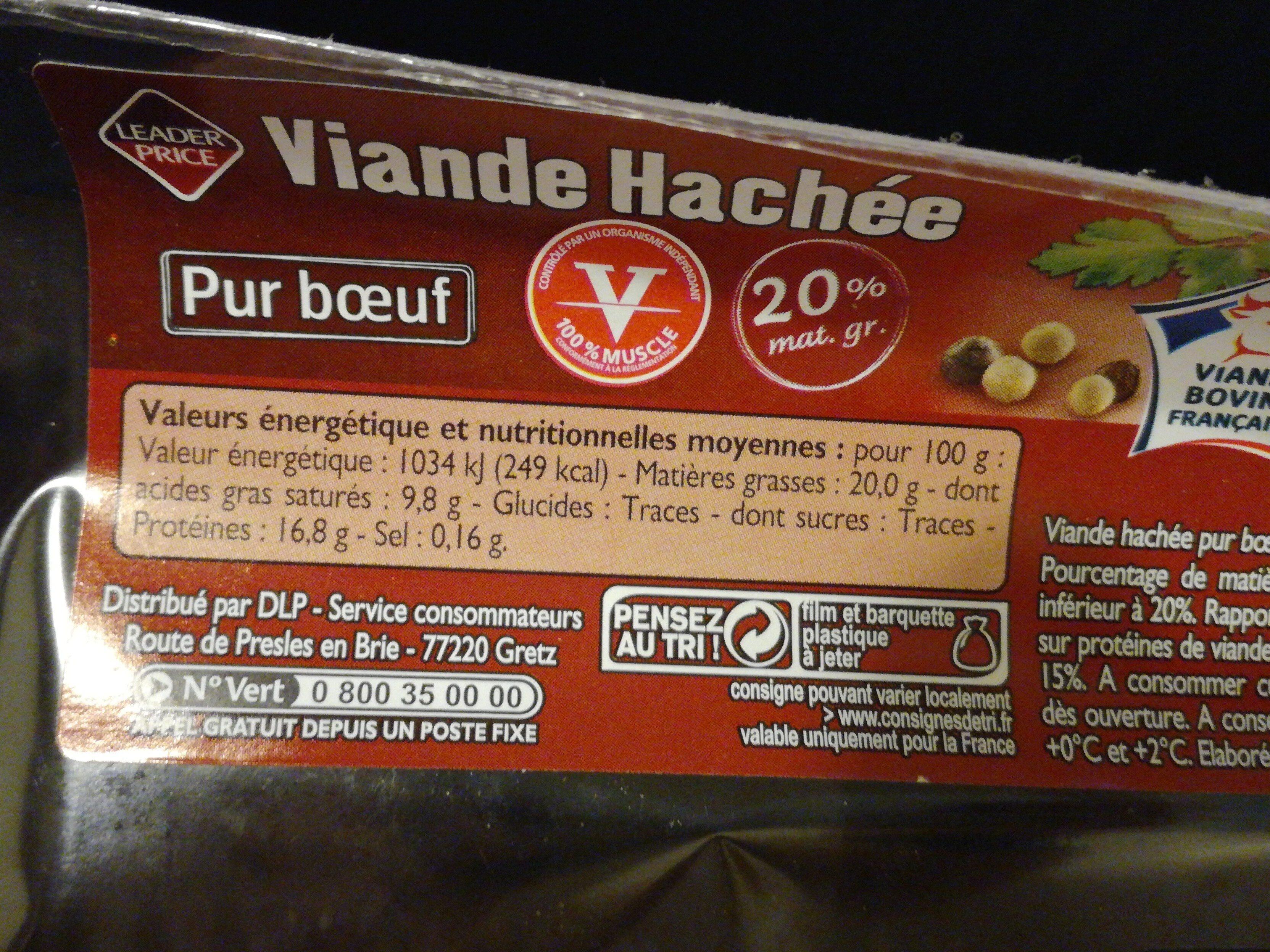 Viande hachée pur boeuf 20% mat. Gr. - Ingrediënten