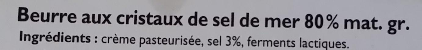Beurre Moulé Cristaux de Sel (80 % MG) - Ingrédients