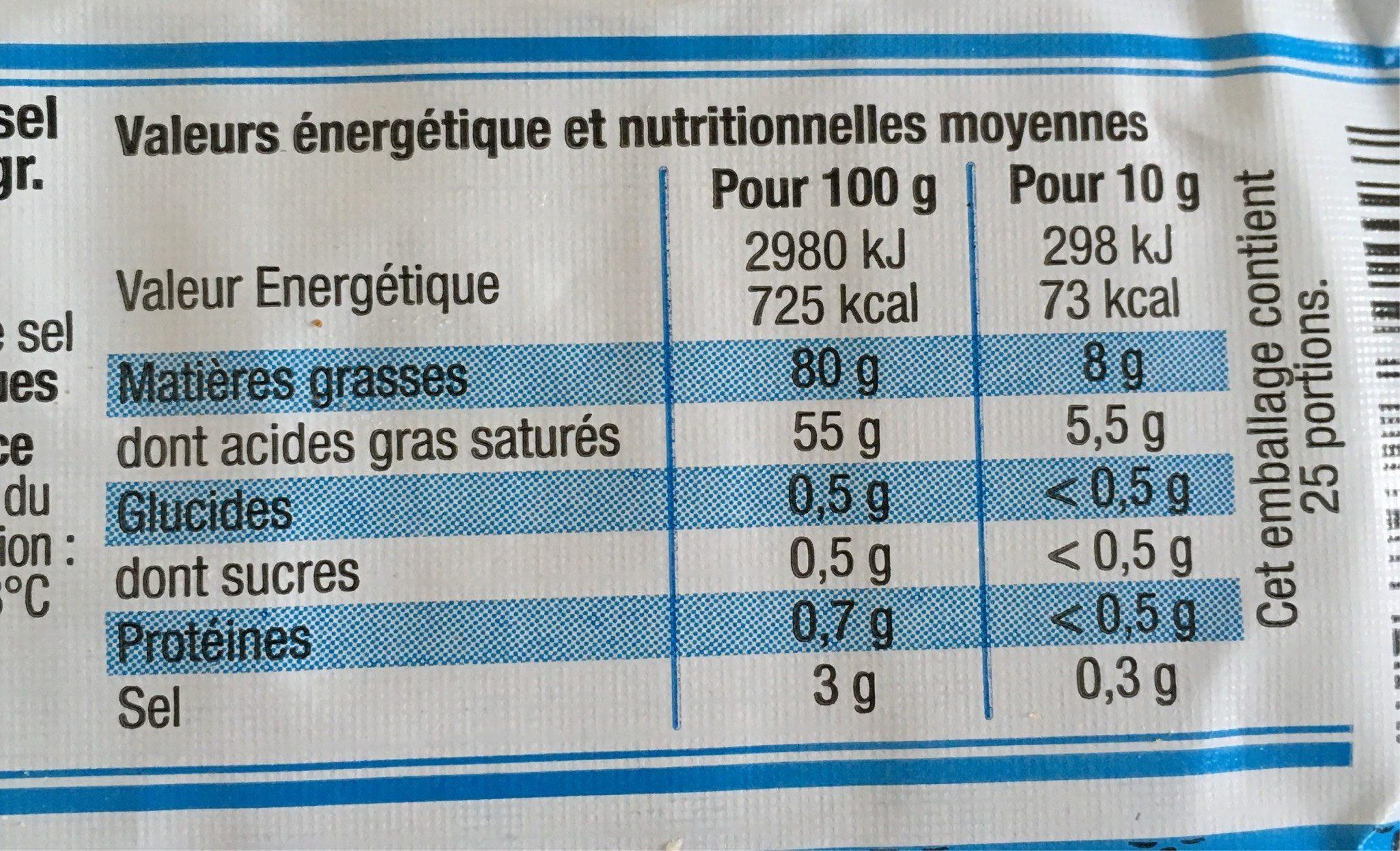 Beurre Moulé Cristaux de Sel (80 % MG) - Informations nutritionnelles