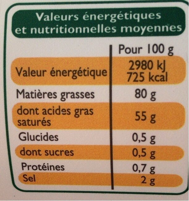 Beurre tendre demi-sel (80 % MG) - Informations nutritionnelles - fr