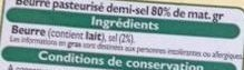 Beurre demi-sel - Ingredients