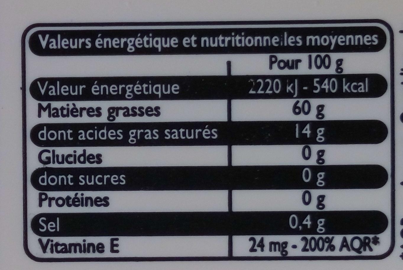 Le Plaisir & la Cuisine au tournesol doux - Informations nutritionnelles