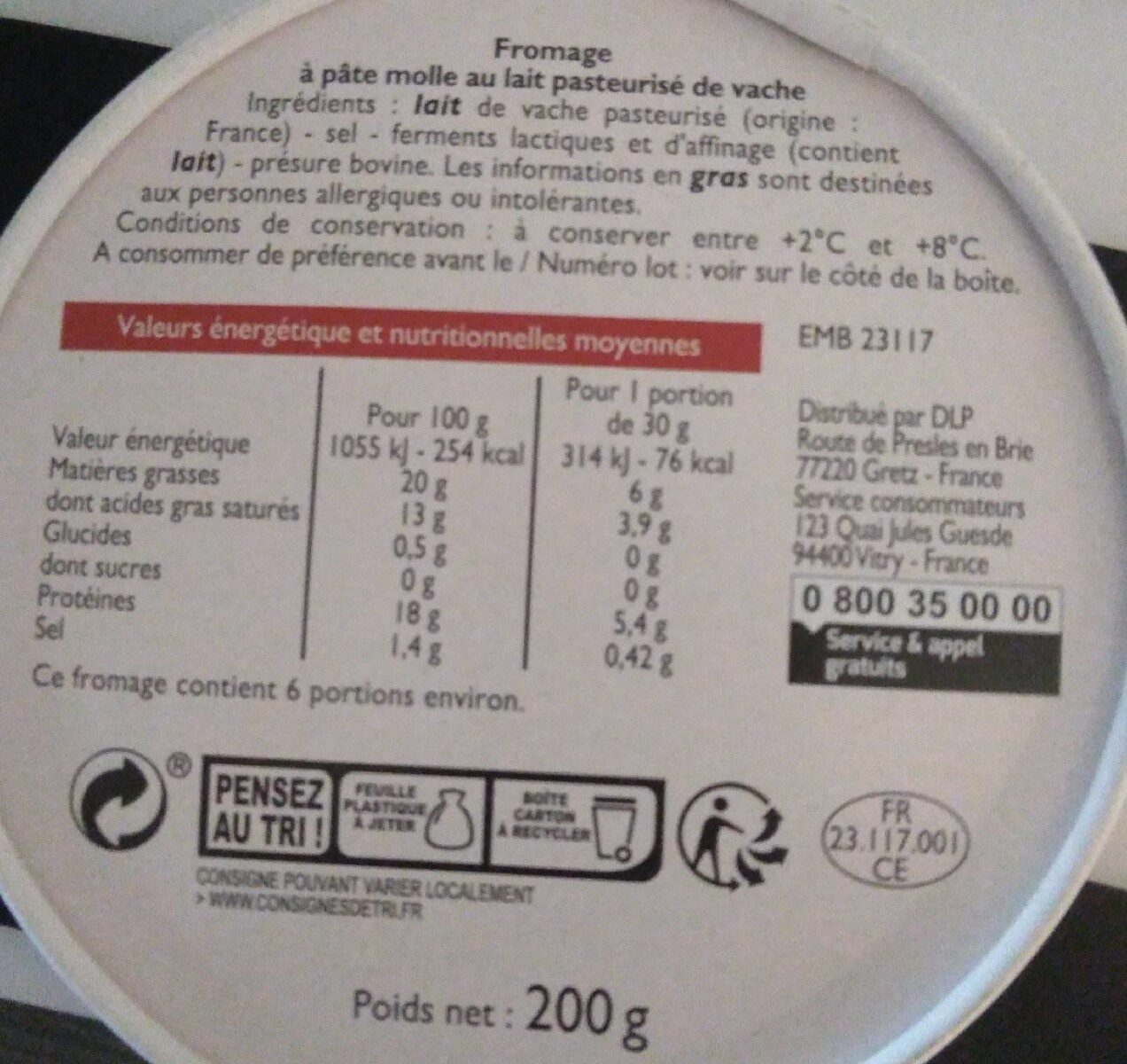 Fromage type camembert - Informations nutritionnelles - fr