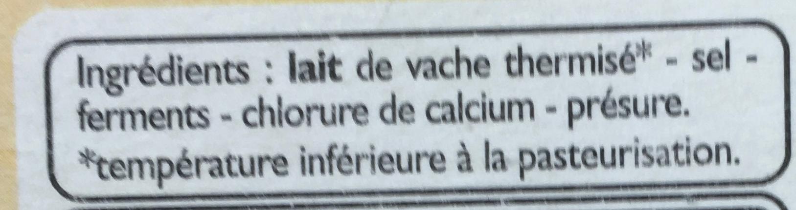 Camembert moulé à la louche - Ingrédients - fr