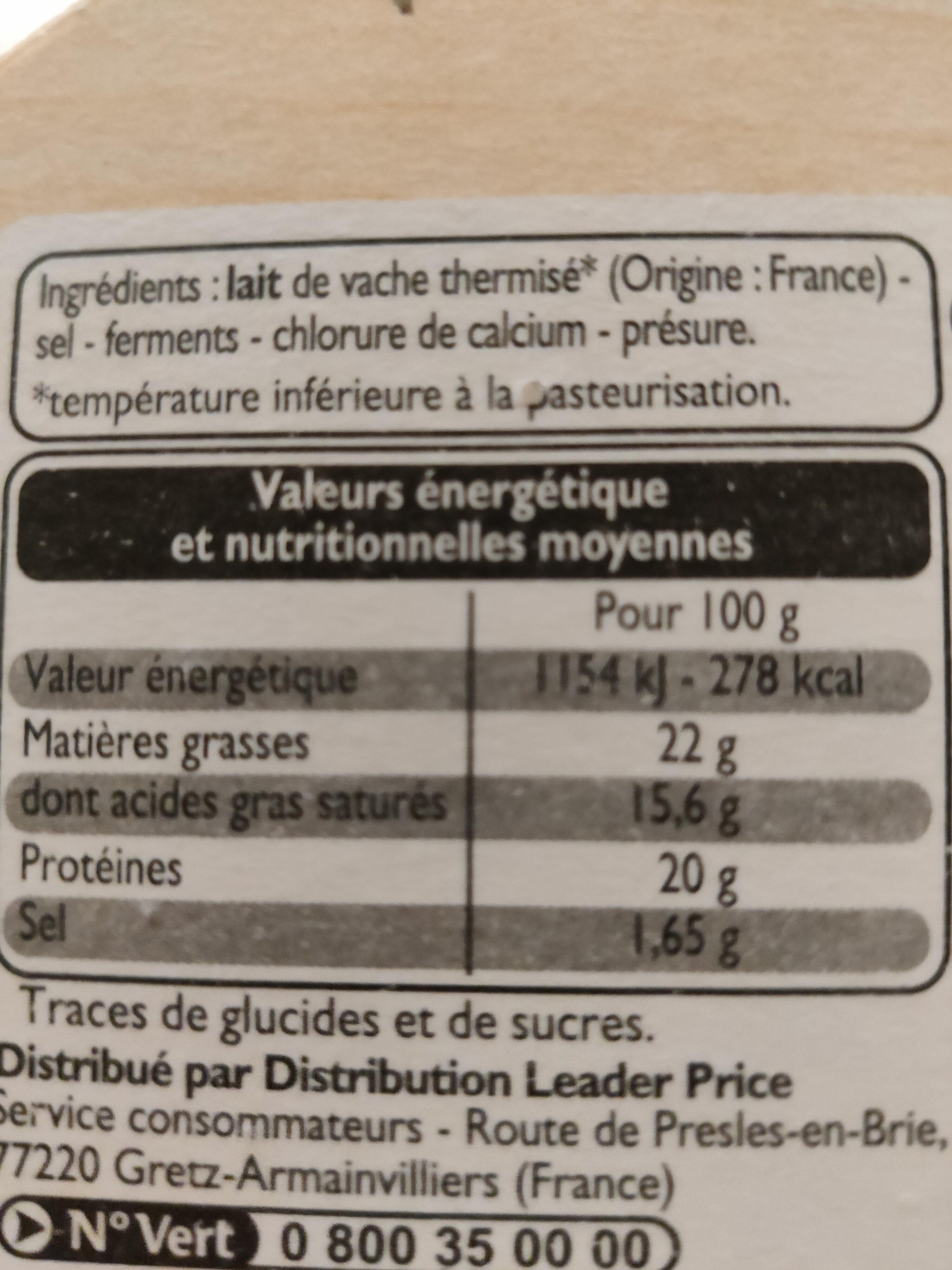 Camembert moulé à la louche - Informations nutritionnelles - fr