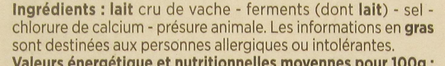 Camembert de Normandie au lait cru moulé à la louche - Ingredients - fr