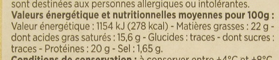 Camembert de Normandie au lait cru moulé à la louche - Nutrition facts - fr