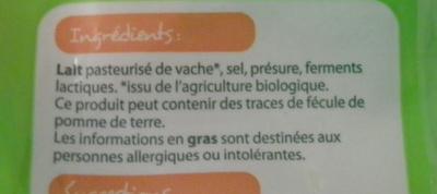 Emmental râpé Bio - Ingredients - fr