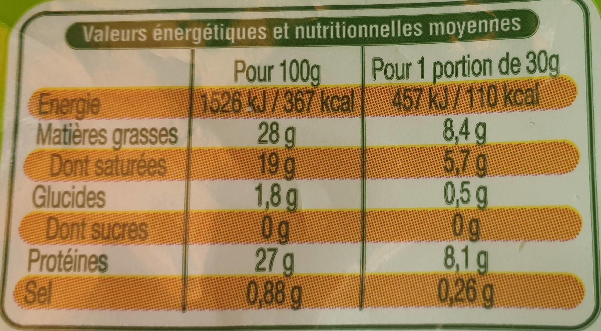 Emmental râpé Bio - Nutrition facts - fr