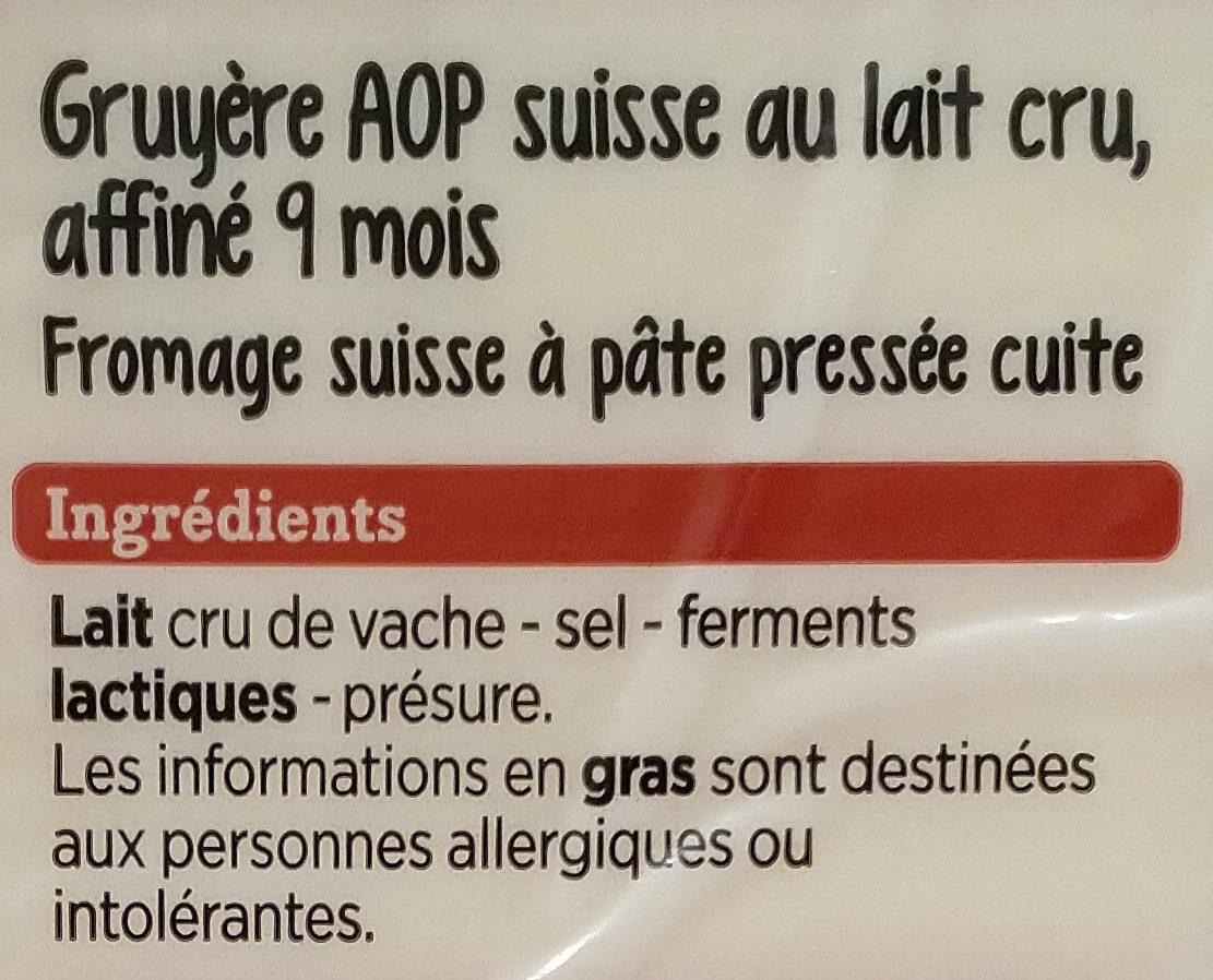 Le Gruyère AOP Switzerland - Ingrédients - fr