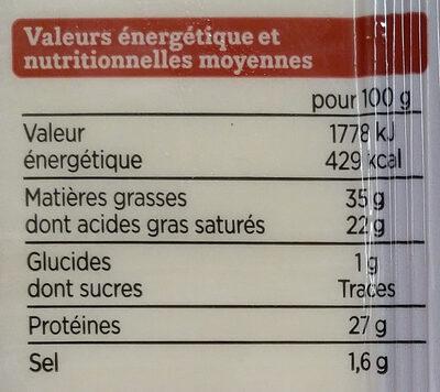 Le Gruyère AOP Switzerland - Informations nutritionnelles - fr