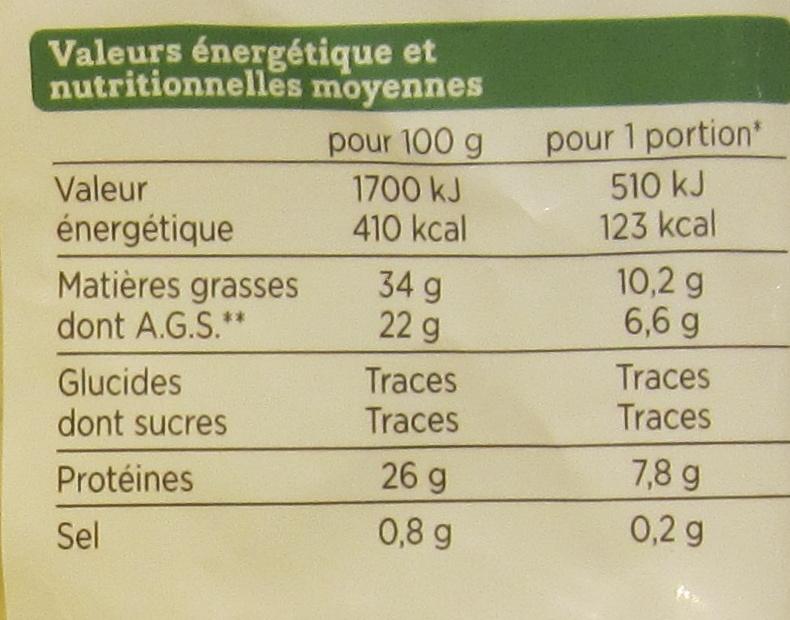 Comté Râpé au Lait Cru - Nutrition facts