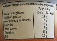 Crème de fromage au Bleu - Informations nutritionnelles