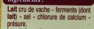 Camembert de Normandie au lait cru moulé à la louche - Ingredients