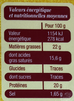Camembert de Normandie au lait cru moulé à la louche - Nutrition facts - fr