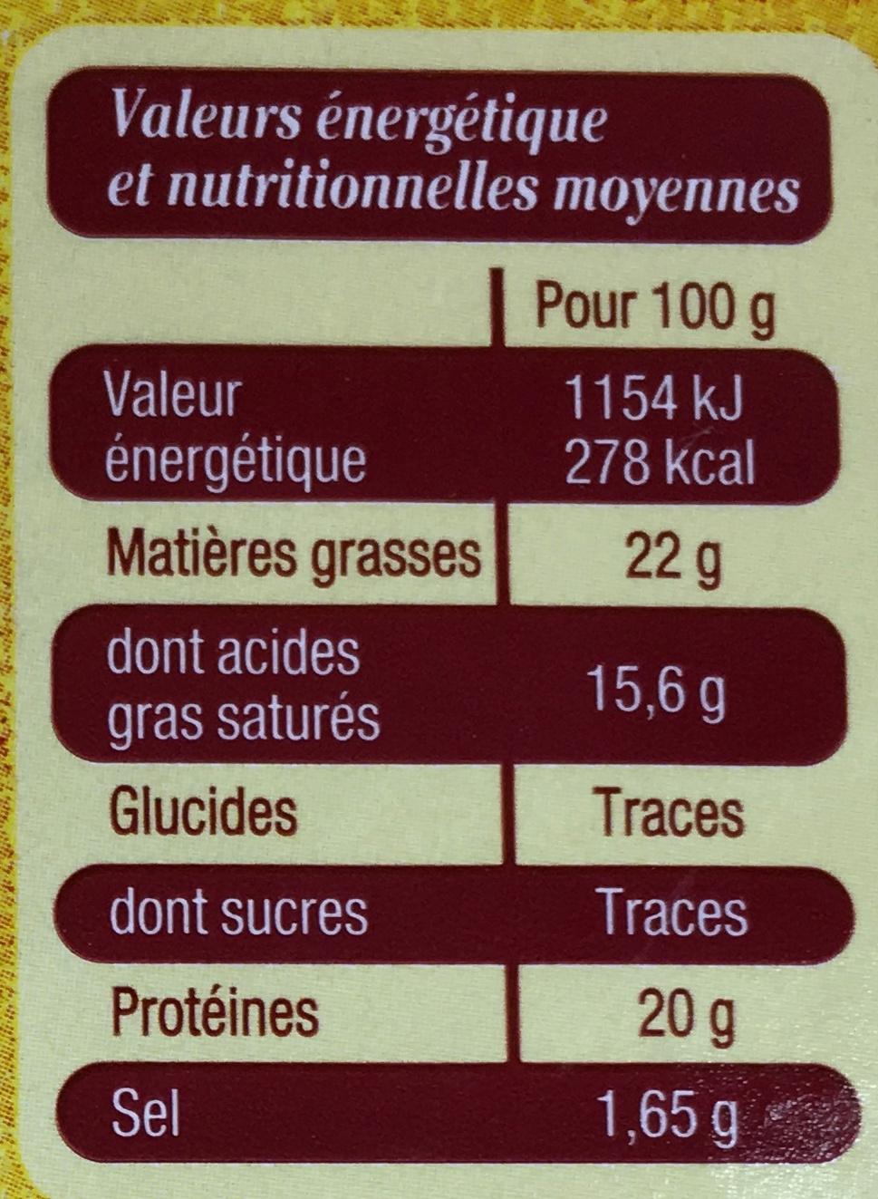 Camembert de Normandie au lait cru moulé à la louche - Nutrition facts