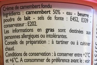 Crème de fromage au Camembert - Ingredienti - fr